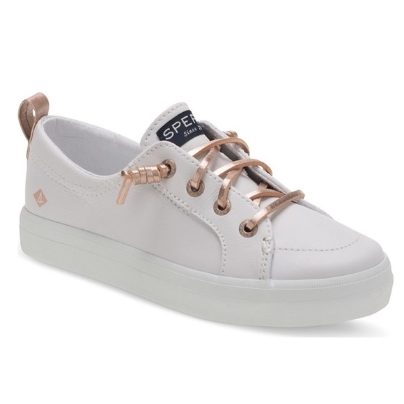 Sperry Top Sider White With Rose Gold